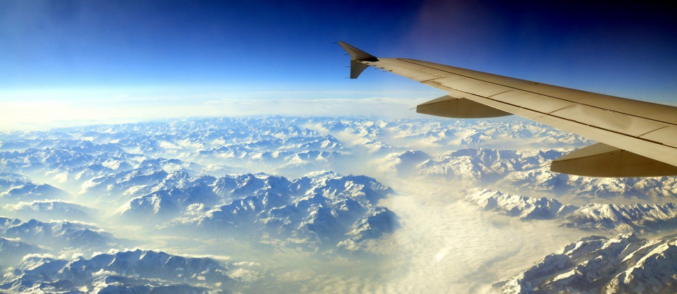 View of the Alps from the airplane