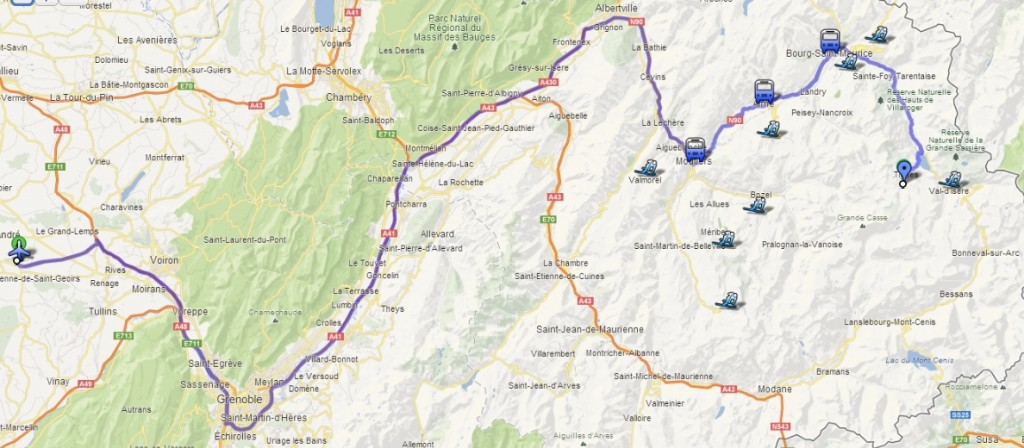 Bus trip from Grenoble airport to Tignes