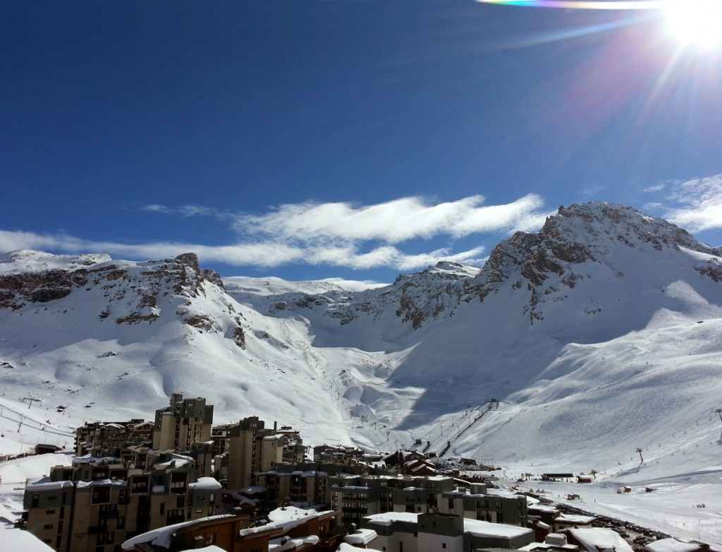 View of Tignes and the Grande Motte glacier