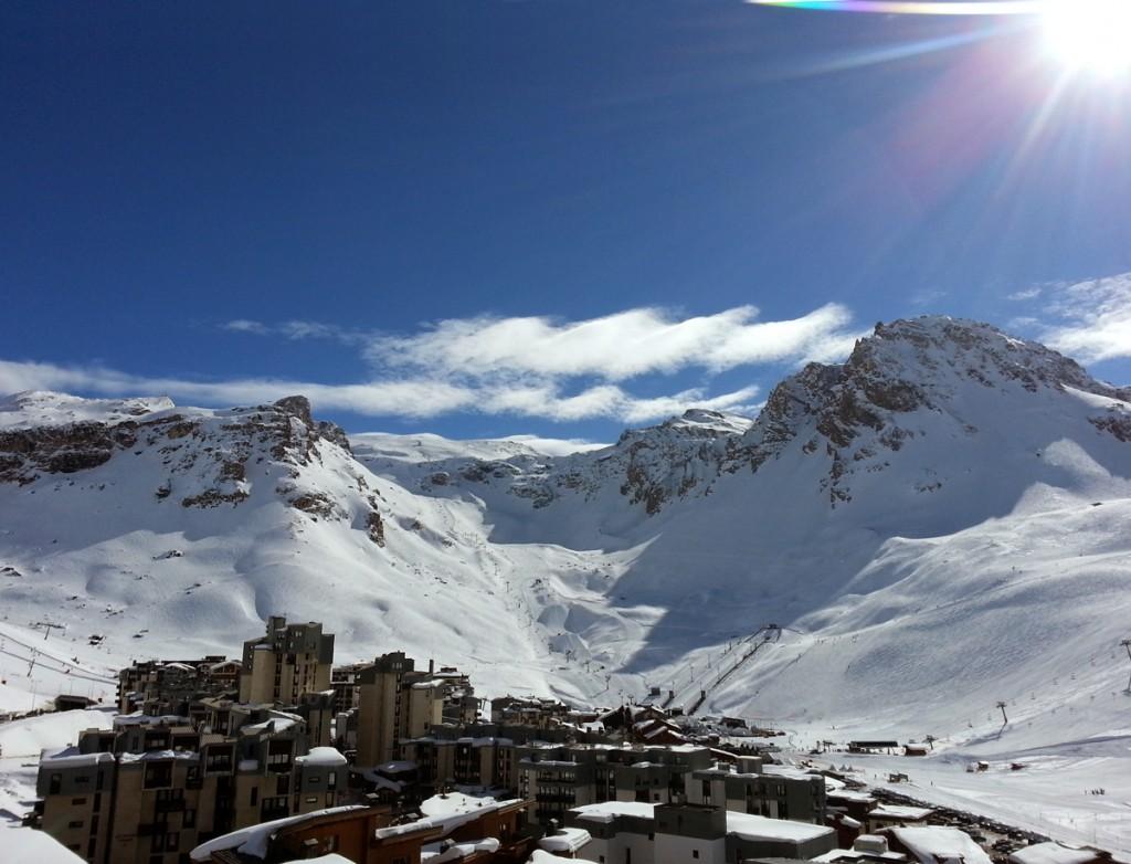 View of Tignes and the Grande Motte glacier