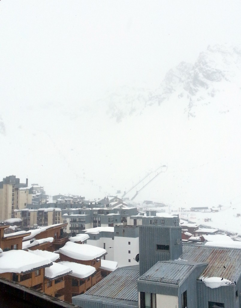 View of Tignes in snowy conditions
